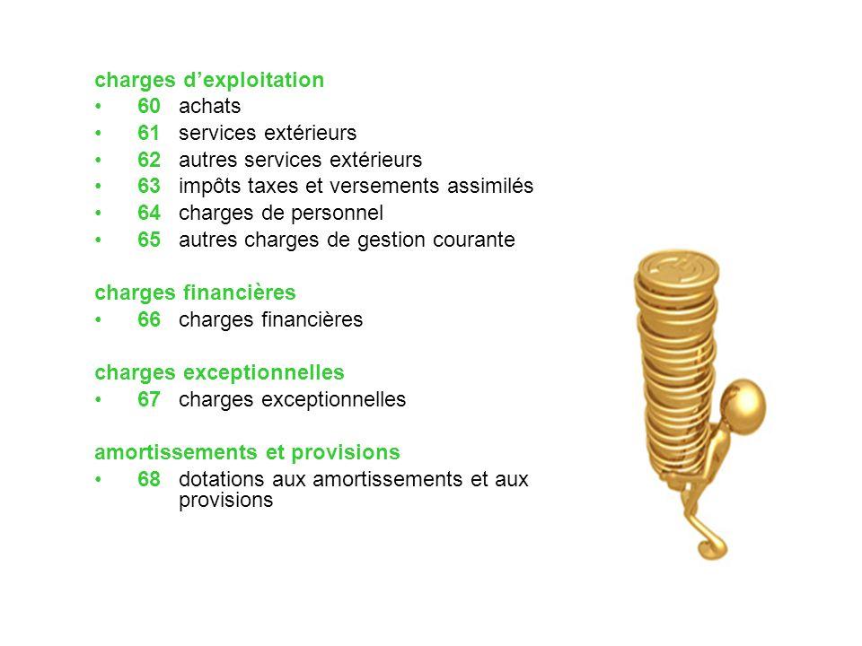 charges d'exploitation 60 achats 61 services extérieurs