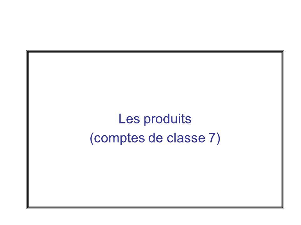 Les produits (comptes de classe 7)