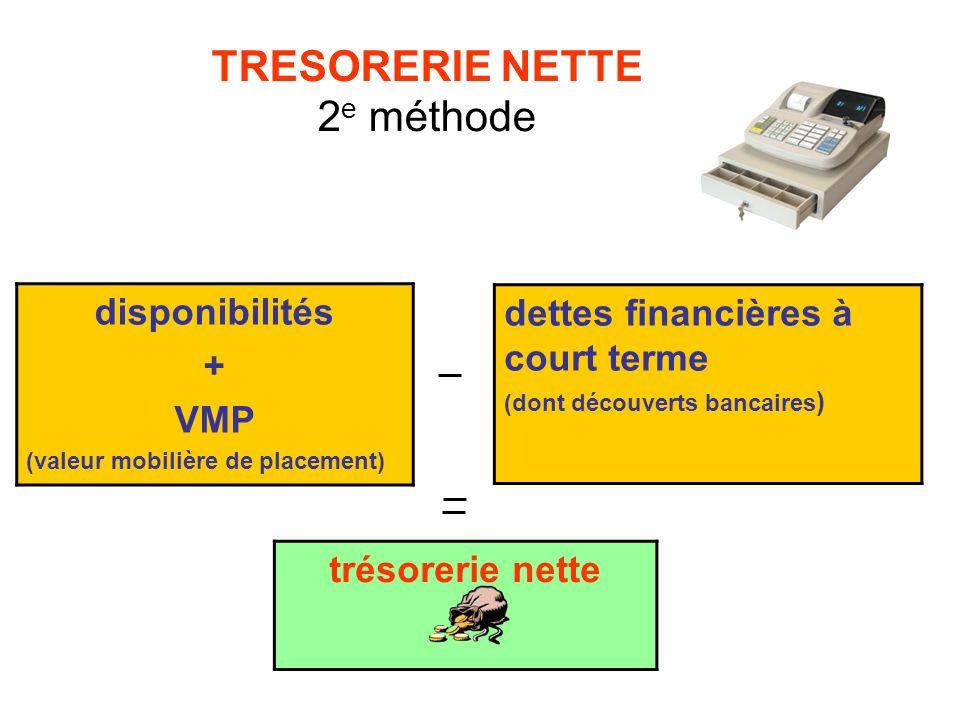TRESORERIE NETTE 2e méthode