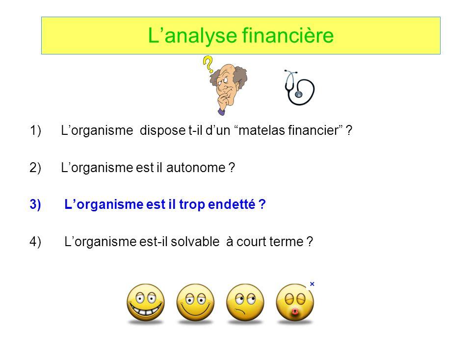 L'analyse financière L'organisme dispose t-il d'un matelas financier L'organisme est il autonome
