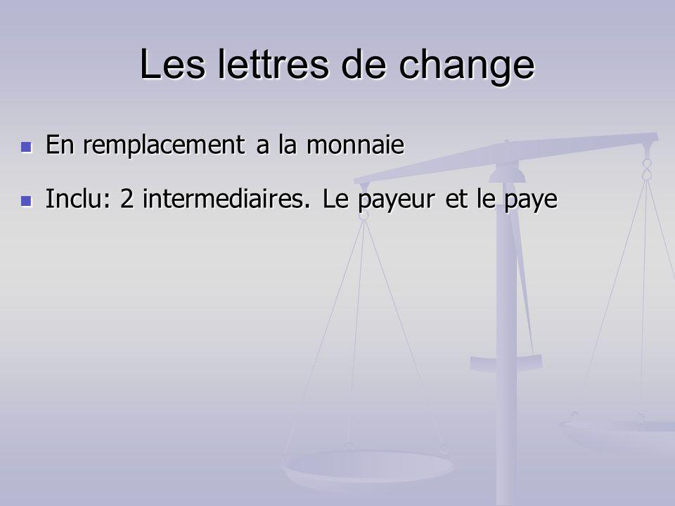 Les lettres de change En remplacement a la monnaie