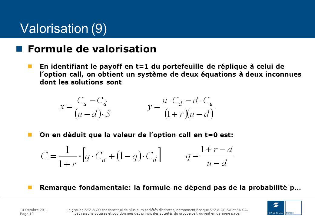 Valorisation (9) Formule de valorisation