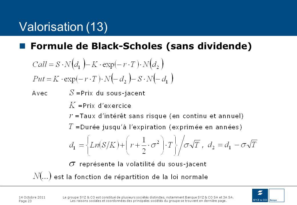 Valorisation (13) Formule de Black-Scholes (sans dividende)