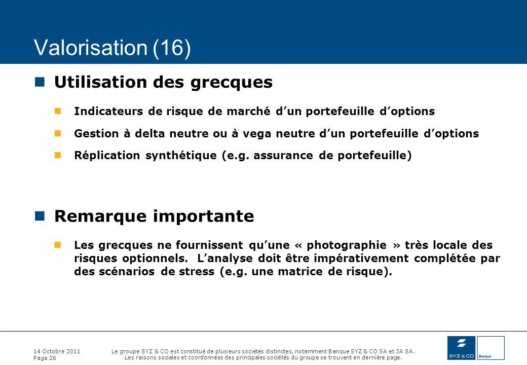 Valorisation (16) Utilisation des grecques Remarque importante
