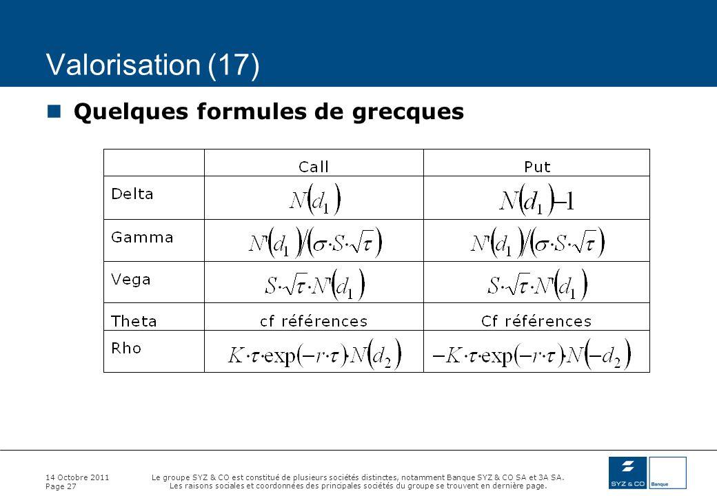 Valorisation (17) Quelques formules de grecques 14 Octobre 2011
