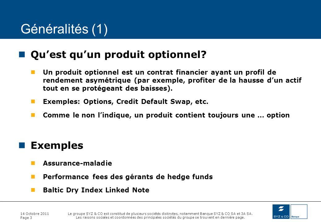 Généralités (1) Qu'est qu'un produit optionnel Exemples