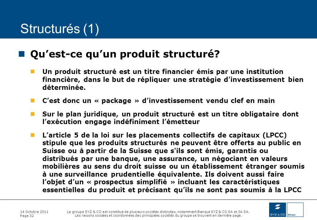 Structurés (1) Qu'est-ce qu'un produit structuré