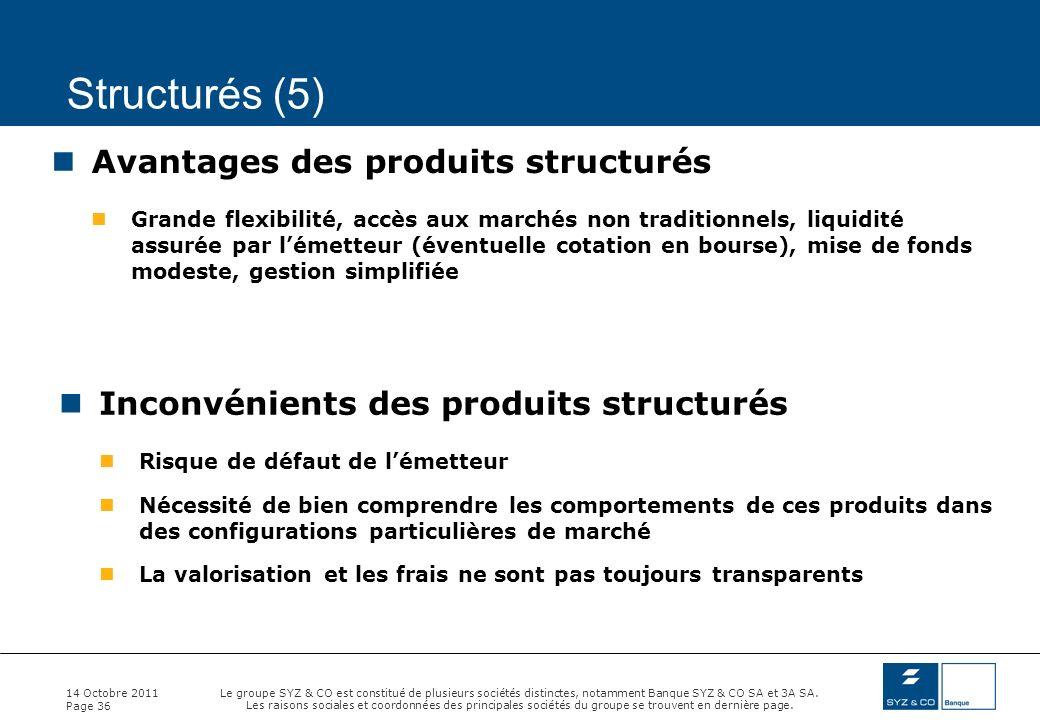 Structurés (5) Avantages des produits structurés