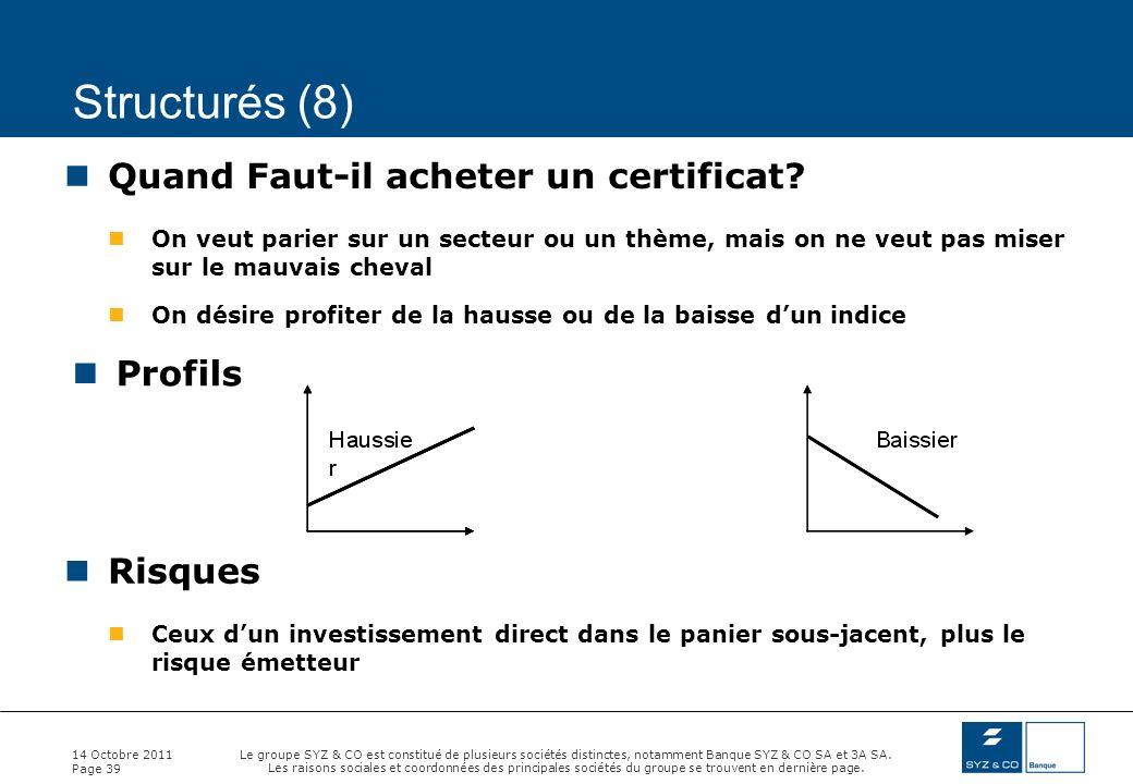 Structurés (8) Quand Faut-il acheter un certificat Profils Risques