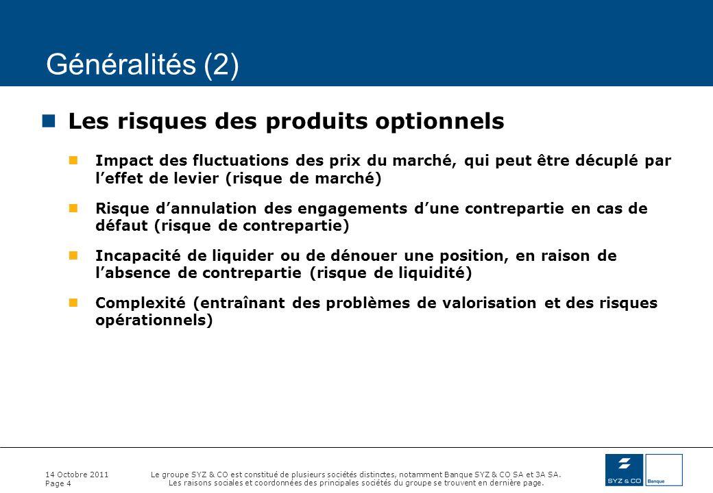 Généralités (2) Les risques des produits optionnels