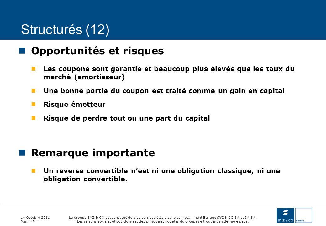 Structurés (12) Opportunités et risques Remarque importante