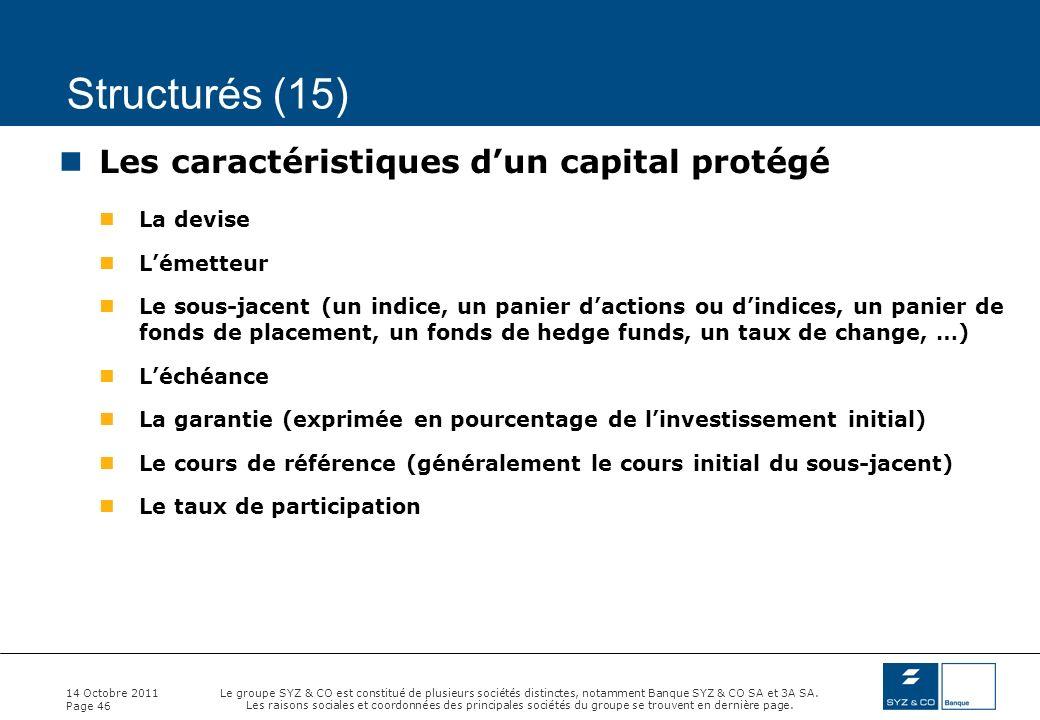 Structurés (15) Les caractéristiques d'un capital protégé La devise