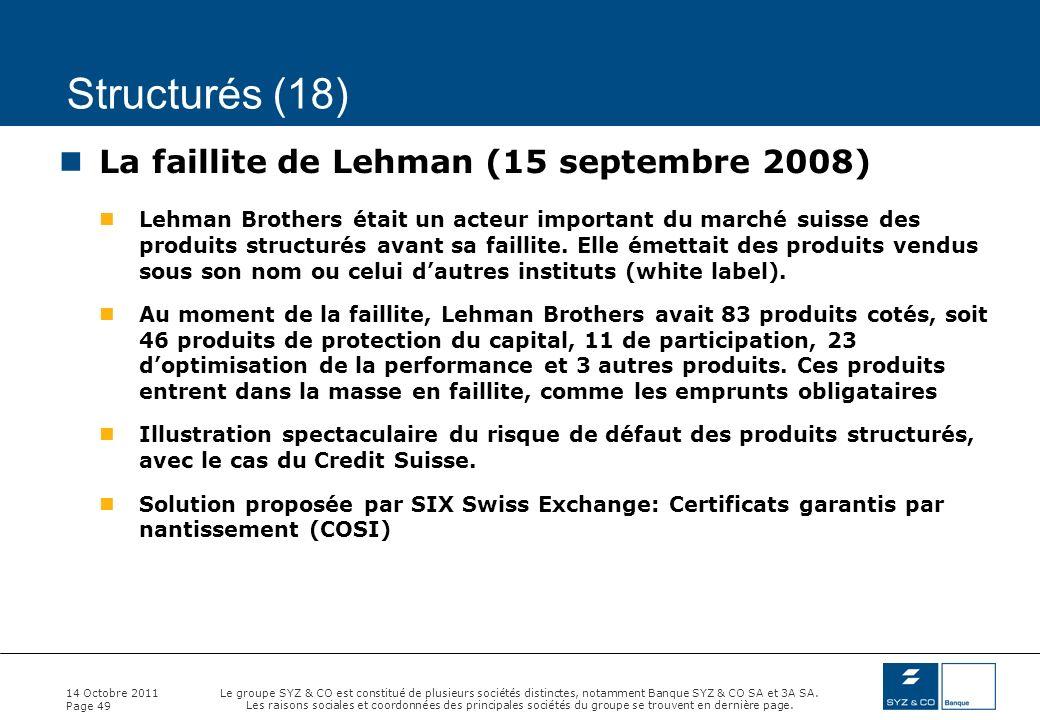 Structurés (18) La faillite de Lehman (15 septembre 2008)