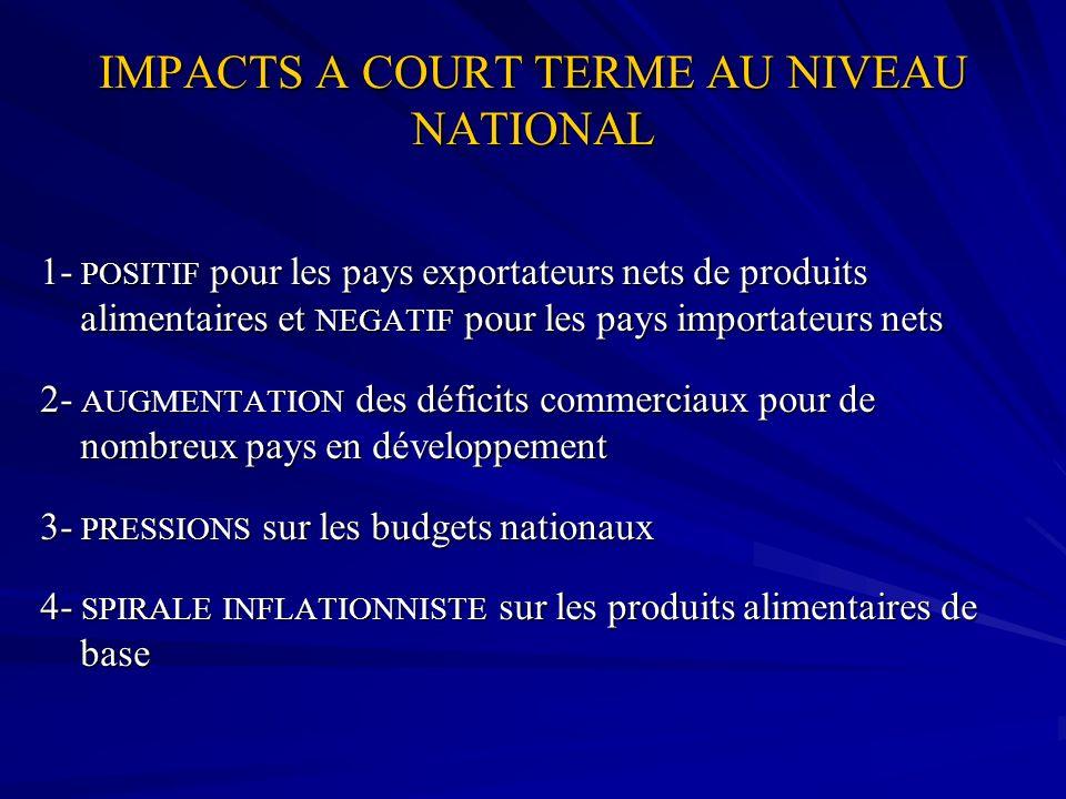 IMPACTS A COURT TERME AU NIVEAU NATIONAL