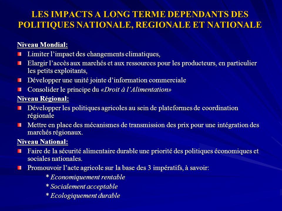 LES IMPACTS A LONG TERME DEPENDANTS DES POLITIQUES NATIONALE, REGIONALE ET NATIONALE