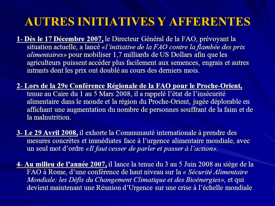 AUTRES INITIATIVES Y AFFERENTES