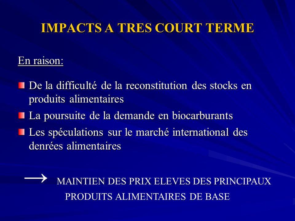 IMPACTS A TRES COURT TERME