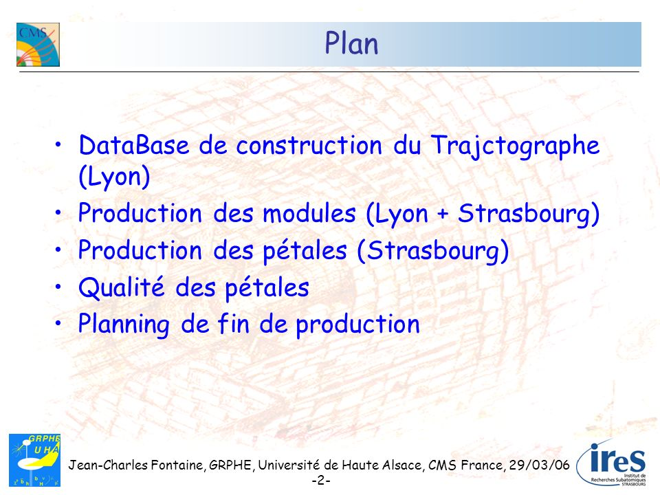 Plan DataBase de construction du Trajctographe (Lyon)