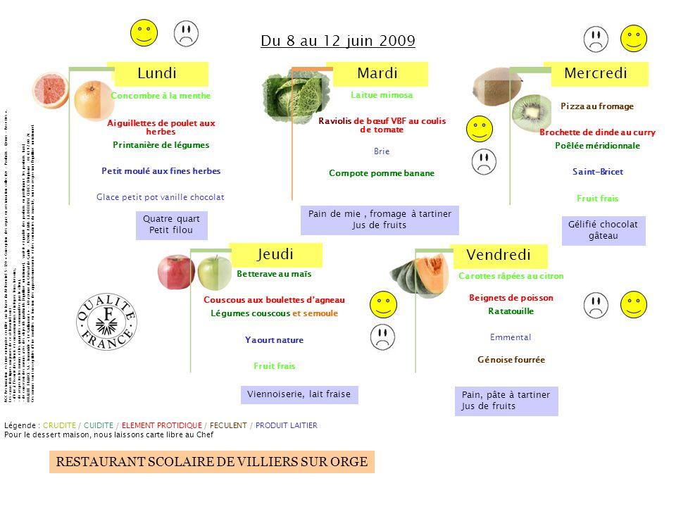 Du 8 au 12 juin 2009 Pain de mie , fromage à tartiner Quatre quart