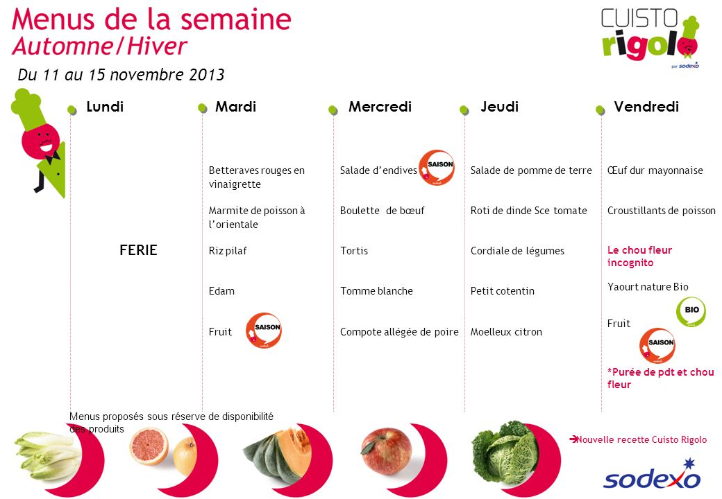 Du 11 au 15 novembre 2013 FERIE Betteraves rouges en vinaigrette