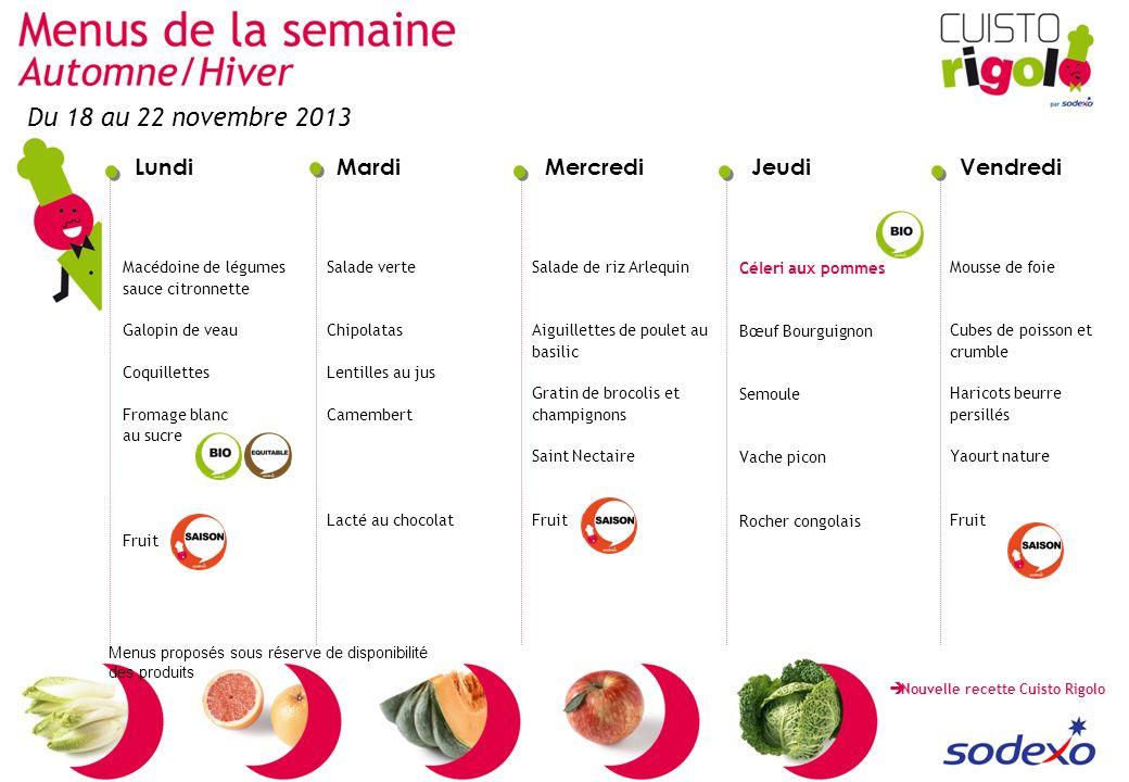 Du 18 au 22 novembre 2013 Macédoine de légumes sauce citronnette