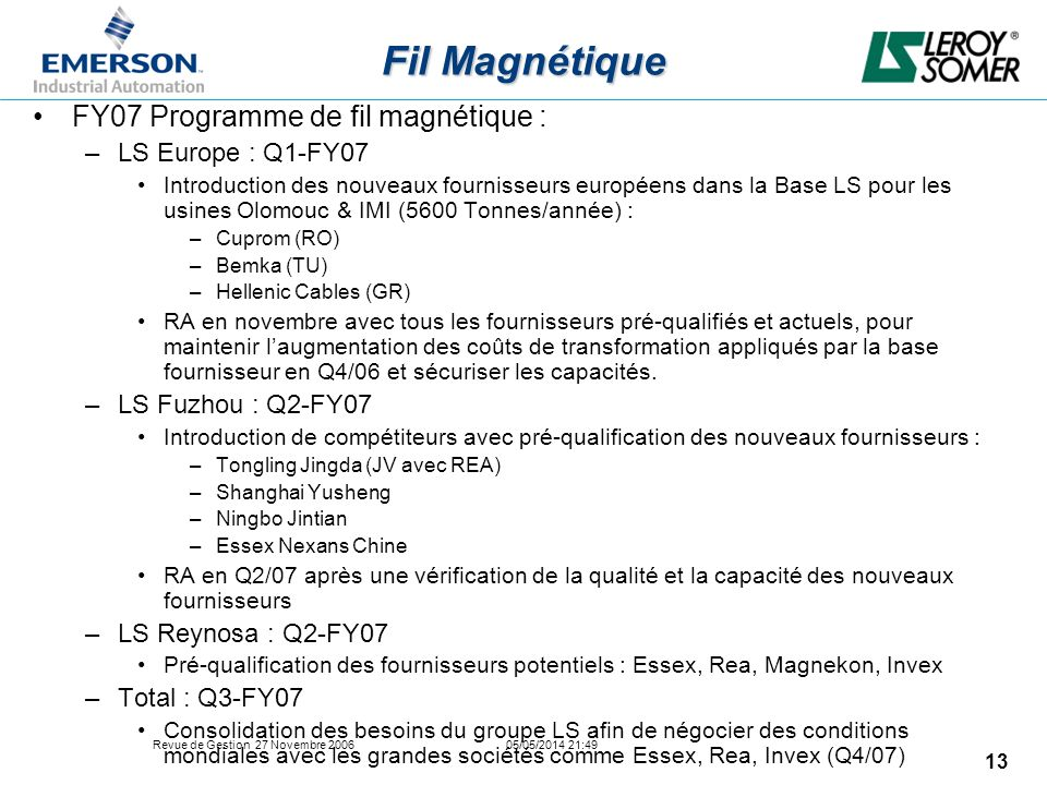 Fil Magnétique FY07 Programme de fil magnétique : LS Europe : Q1-FY07