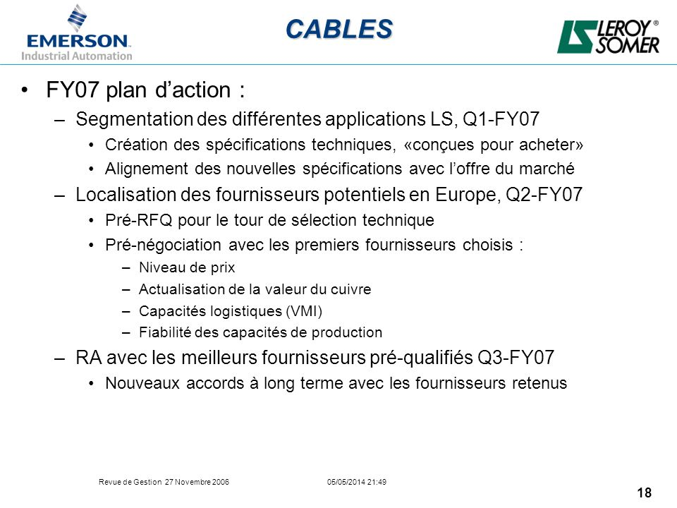CABLES FY07 plan d'action :