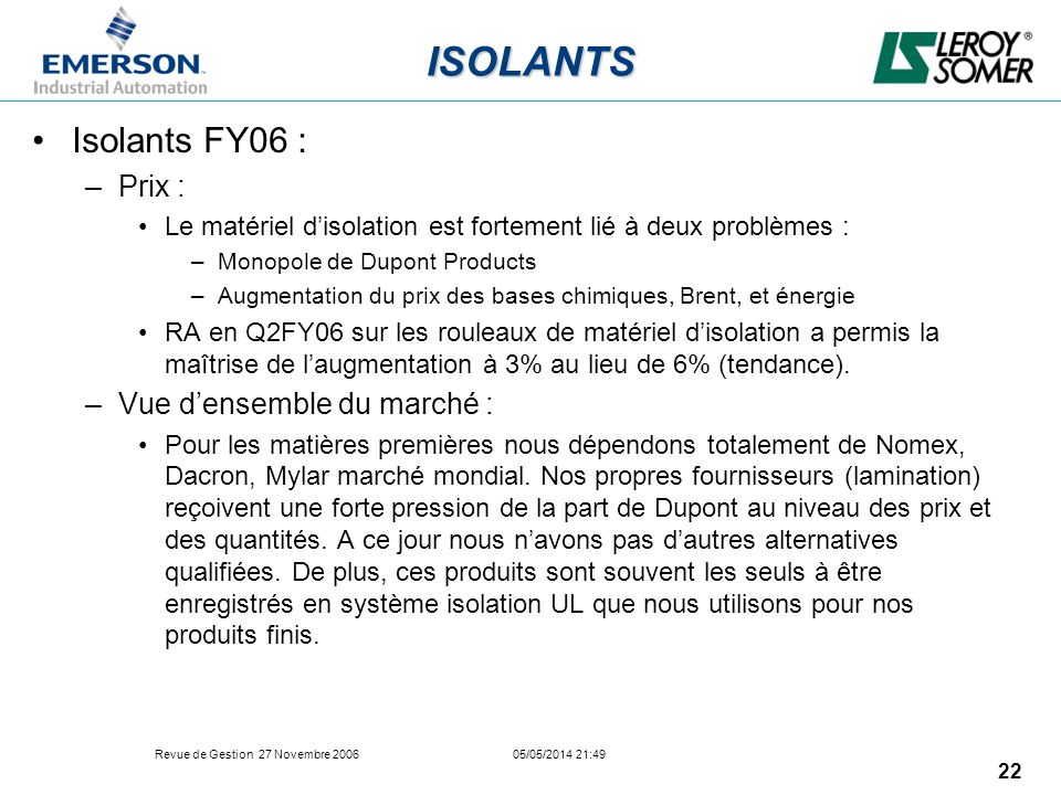 ISOLANTS Isolants FY06 : Prix : Vue d'ensemble du marché :