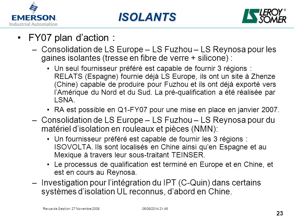ISOLANTS FY07 plan d'action :