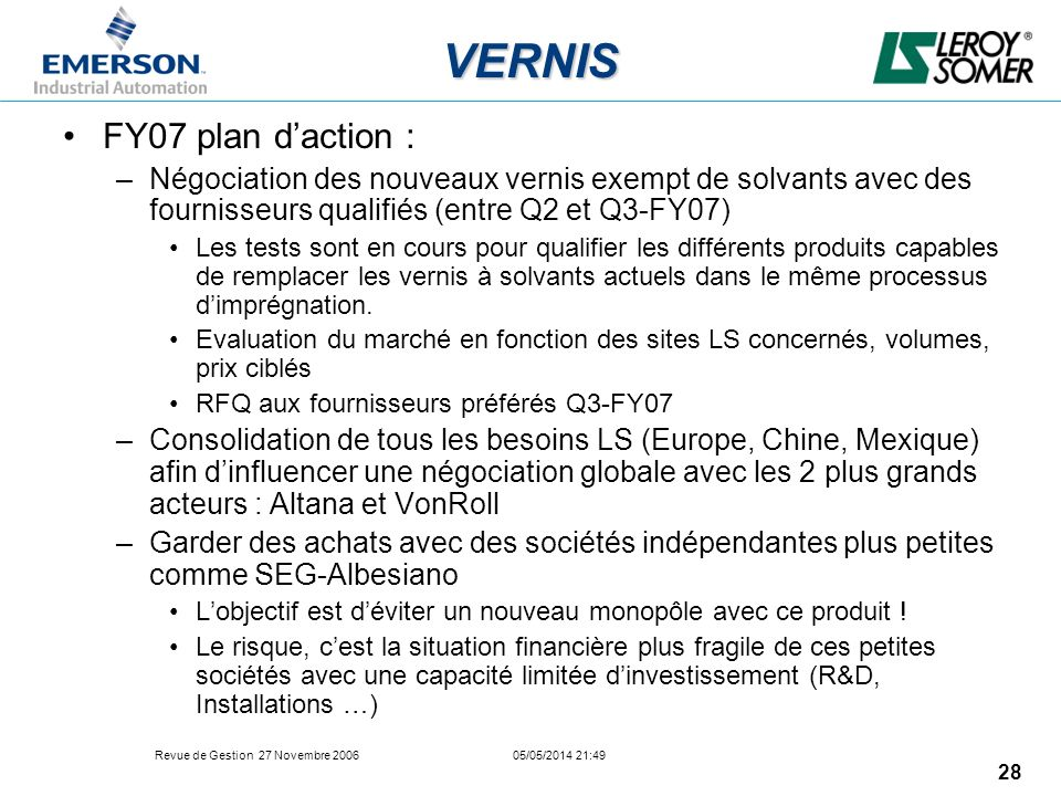 VERNIS FY07 plan d'action :
