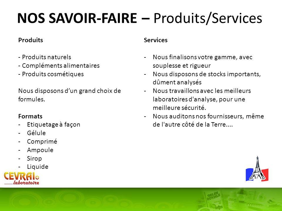 NOS SAVOIR-FAIRE – Produits/Services