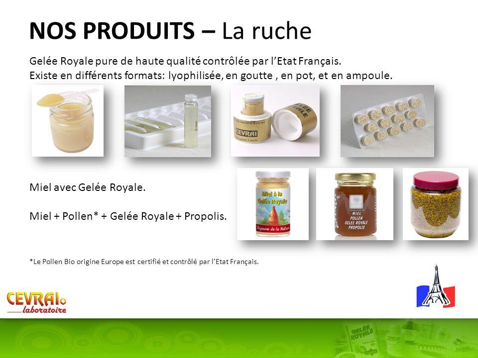 NOS PRODUITS – La ruche Gelée Royale pure de haute qualité contrôlée par l'Etat Français.