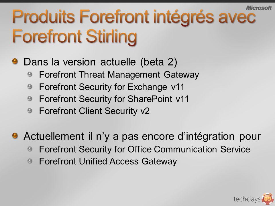 Produits Forefront intégrés avec Forefront Stirling