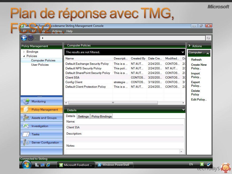 Plan de réponse avec TMG, FCSv2…
