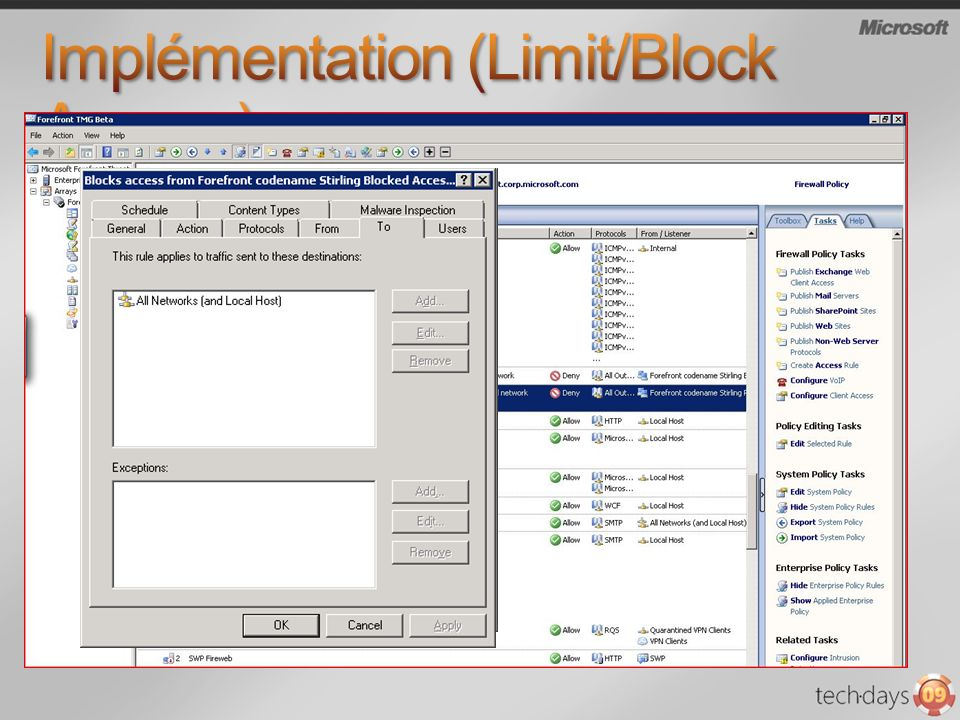 Implémentation (Limit/Block Access)