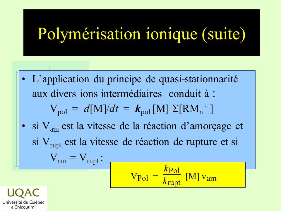 Polymérisation ionique (suite)