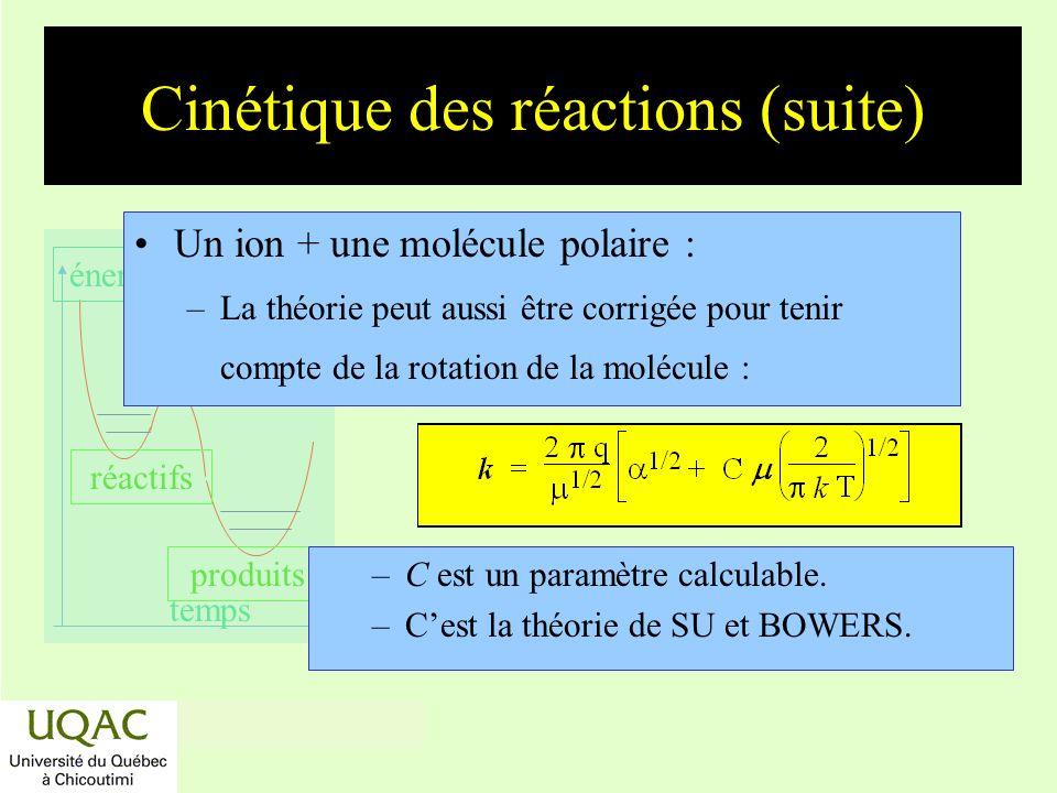 Cinétique des réactions (suite)
