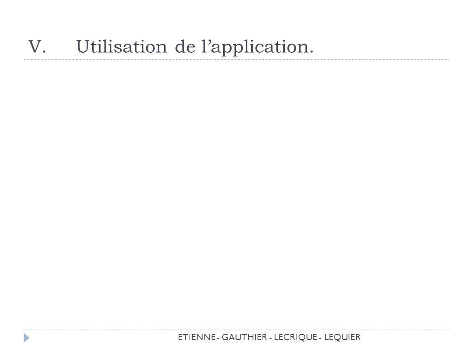 Utilisation de l'application.