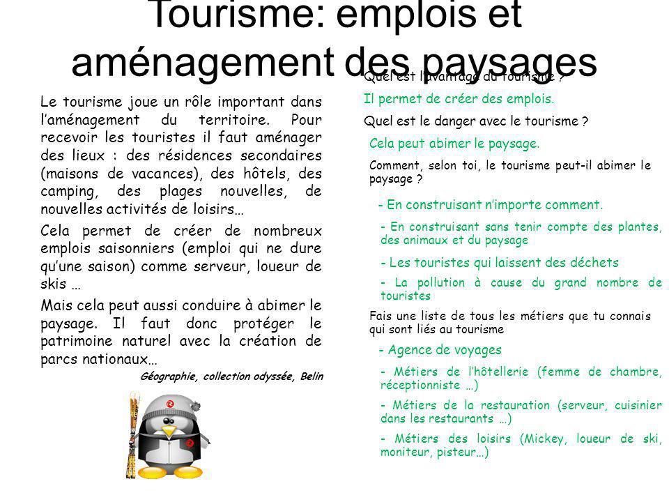 Tourisme: emplois et aménagement des paysages