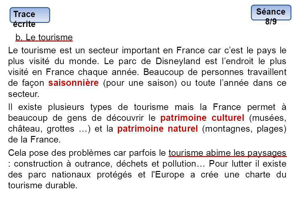 Séance 8/9 Trace écrite. b. Le tourisme.