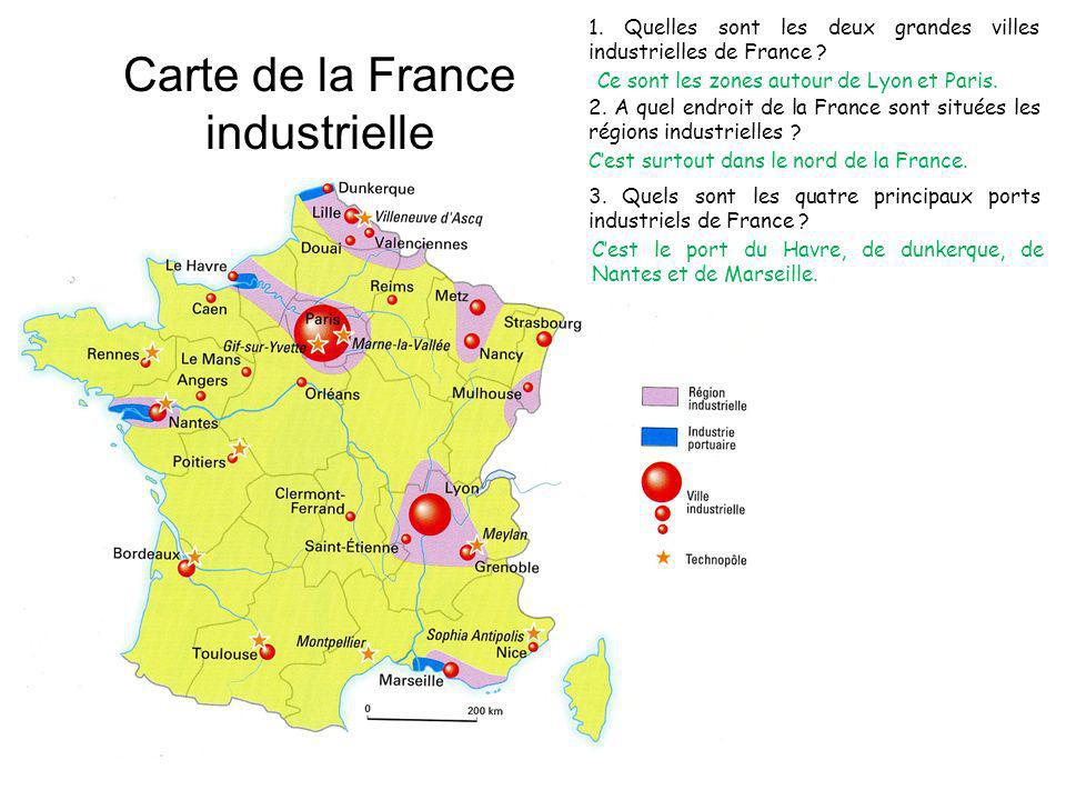 Carte de la France industrielle