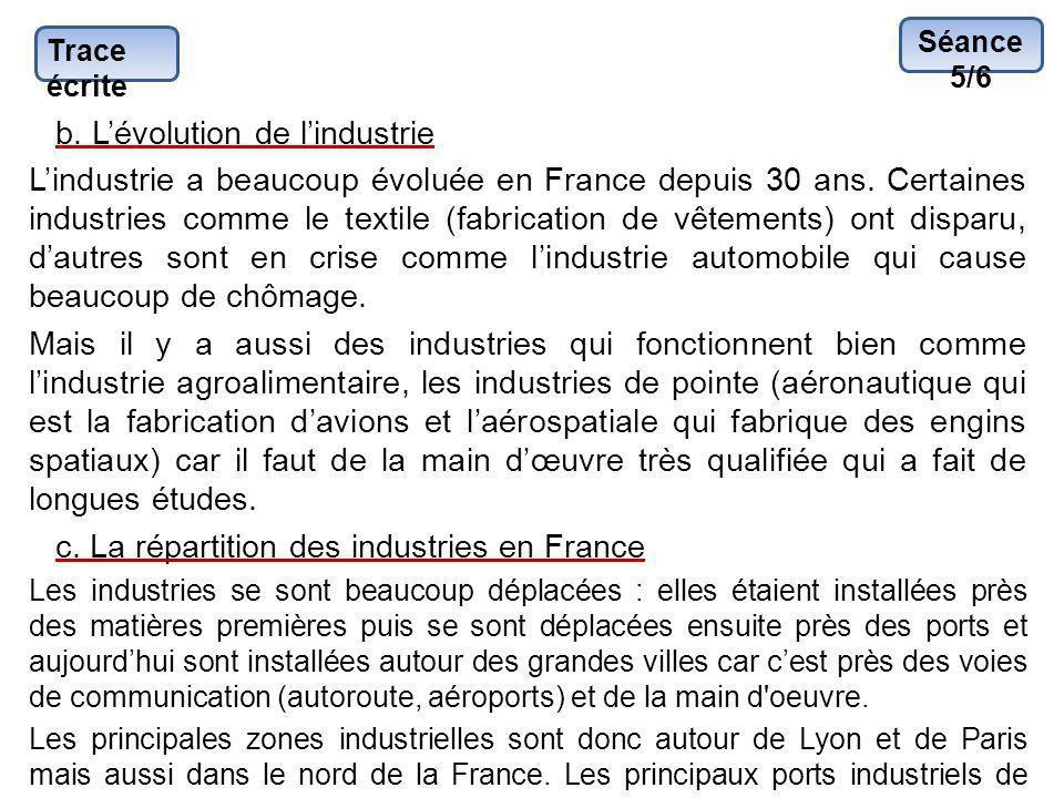 b. L'évolution de l'industrie