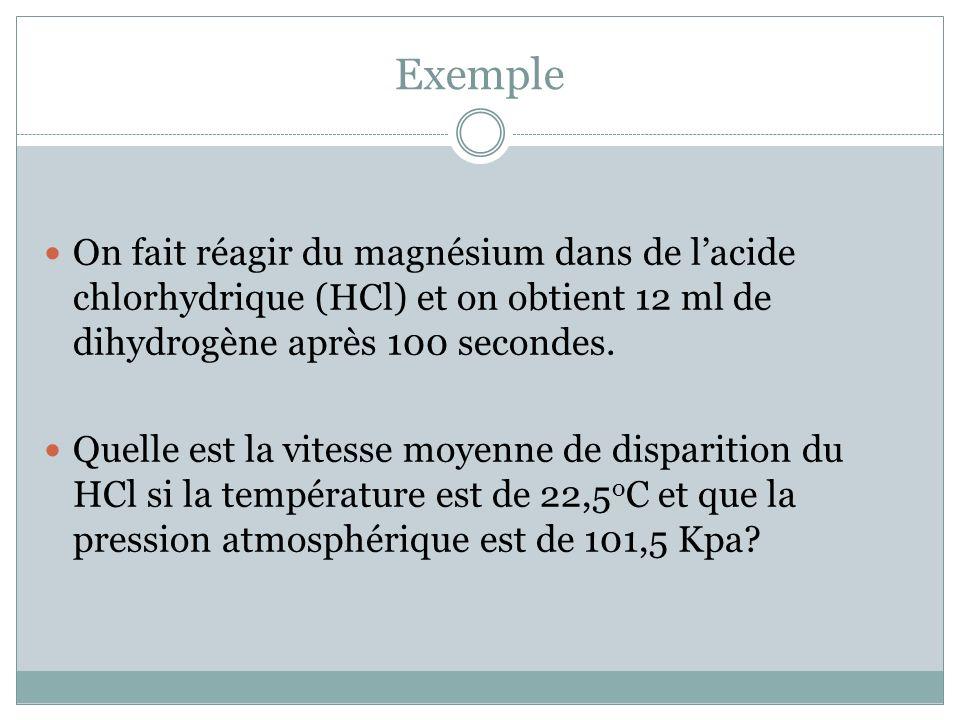 Exemple On fait réagir du magnésium dans de l'acide chlorhydrique (HCl) et on obtient 12 ml de dihydrogène après 100 secondes.