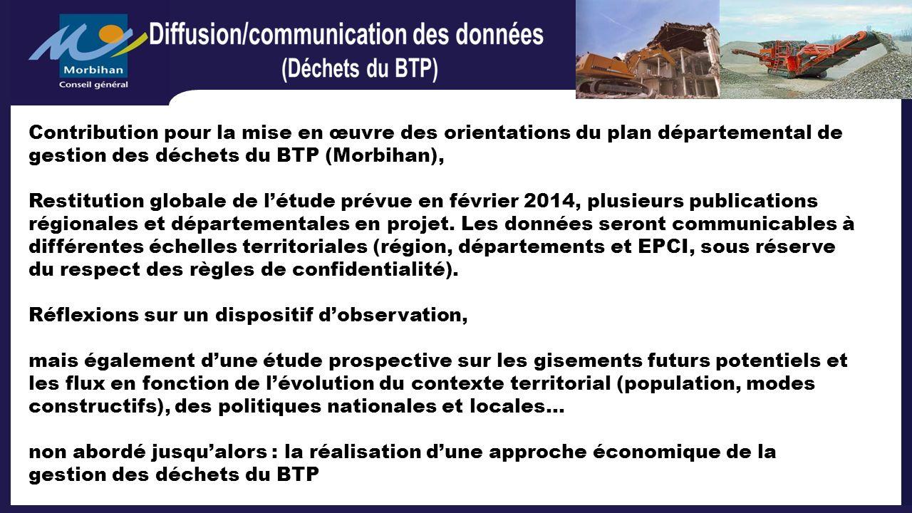 Contribution pour la mise en œuvre des orientations du plan départemental de gestion des déchets du BTP (Morbihan),