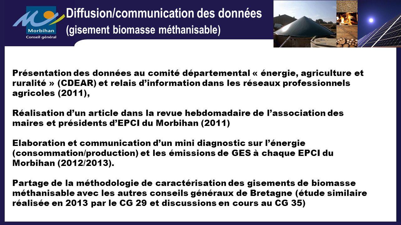 Présentation des données au comité départemental « énergie, agriculture et ruralité » (CDEAR) et relais d'information dans les réseaux professionnels agricoles (2011),