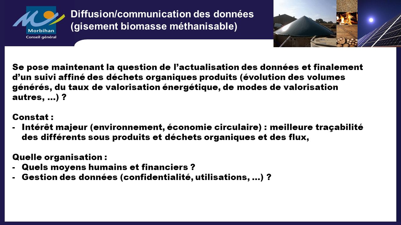 Diffusion/communication des données (gisement biomasse méthanisable)
