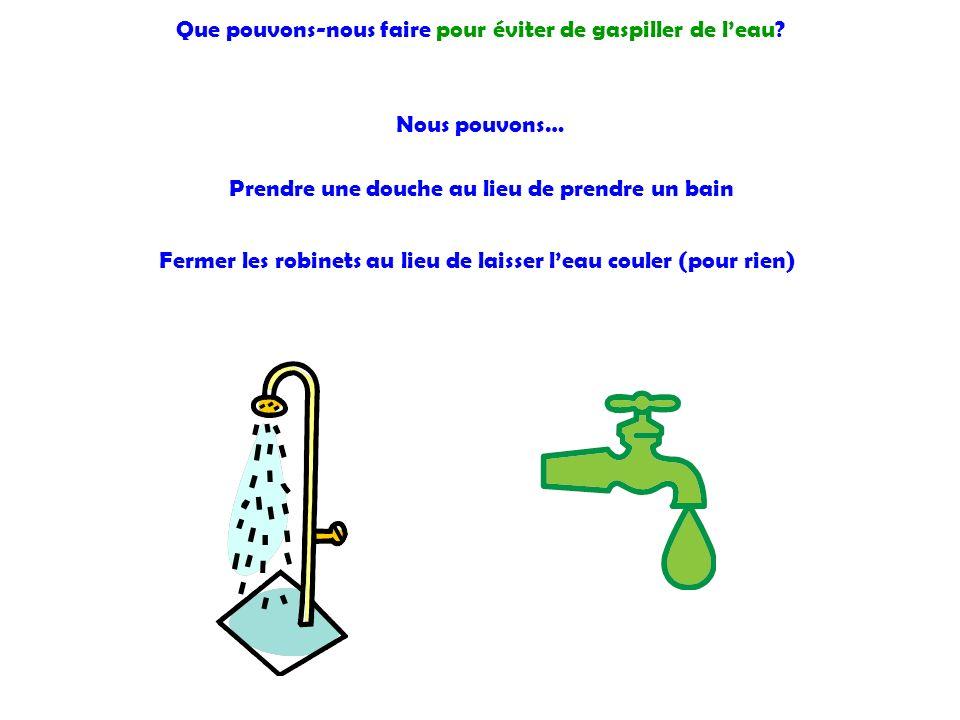 Que pouvons-nous faire pour éviter de gaspiller de l'eau