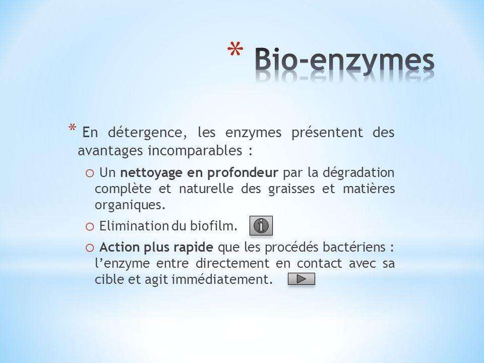 Bio-enzymes En détergence, les enzymes présentent des avantages incomparables :