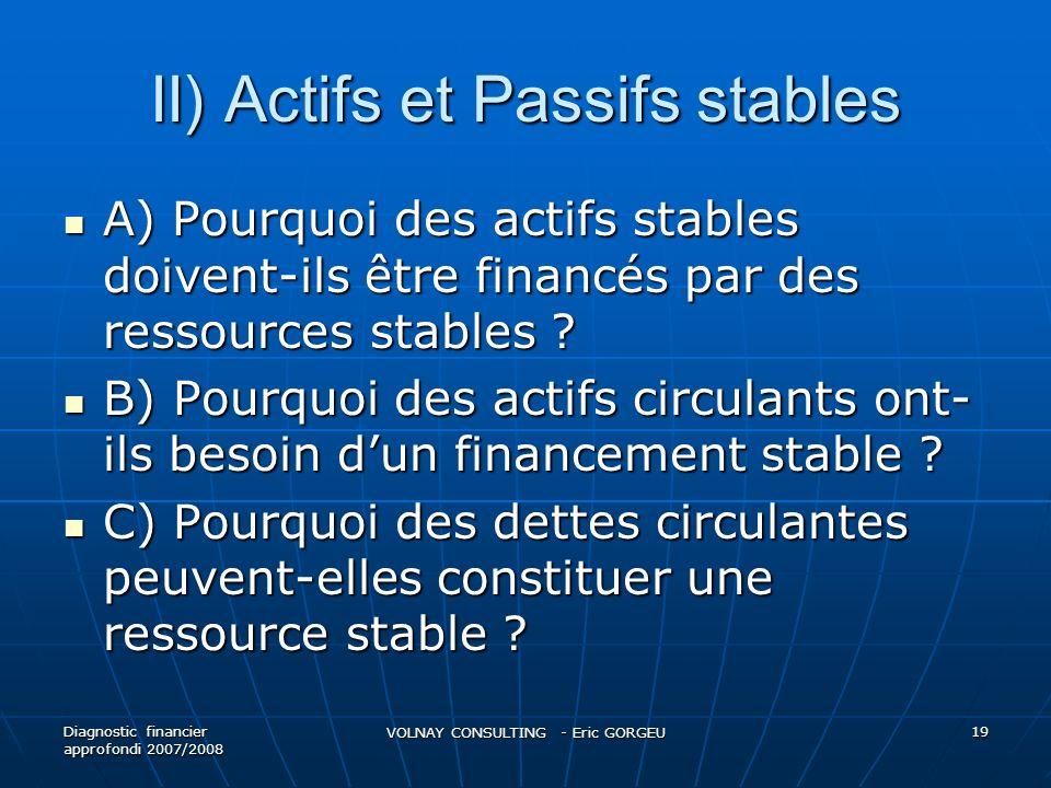 II) Actifs et Passifs stables