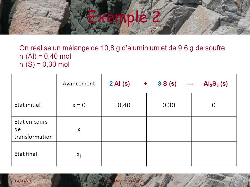 Exemple 2 On réalise un mélange de 10,8 g d'aluminium et de 9,6 g de soufre. n i(Al) = 0,40 mol. n i(S) = 0,30 mol.
